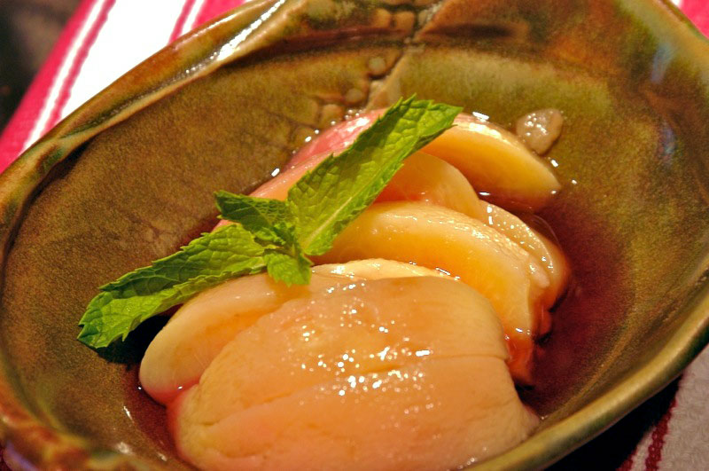 Mint Julep Poached Peaches